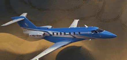 Vol location pilatus PC24 au dessus du désert